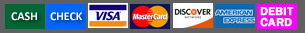payments accepted: cash, check, visa, mastercard, discover, amex, debit